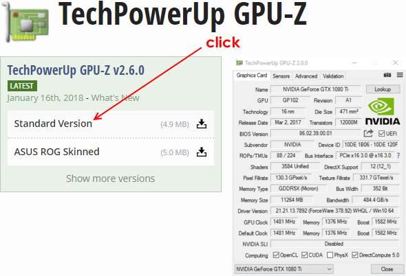 Сайт программы GPU-z